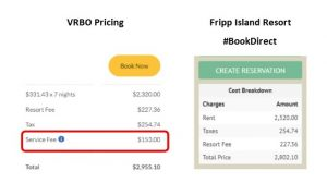 VRBO-vs-FIR | $153 Service fee with $2,000 VRBO booking - no fee for booking direct!