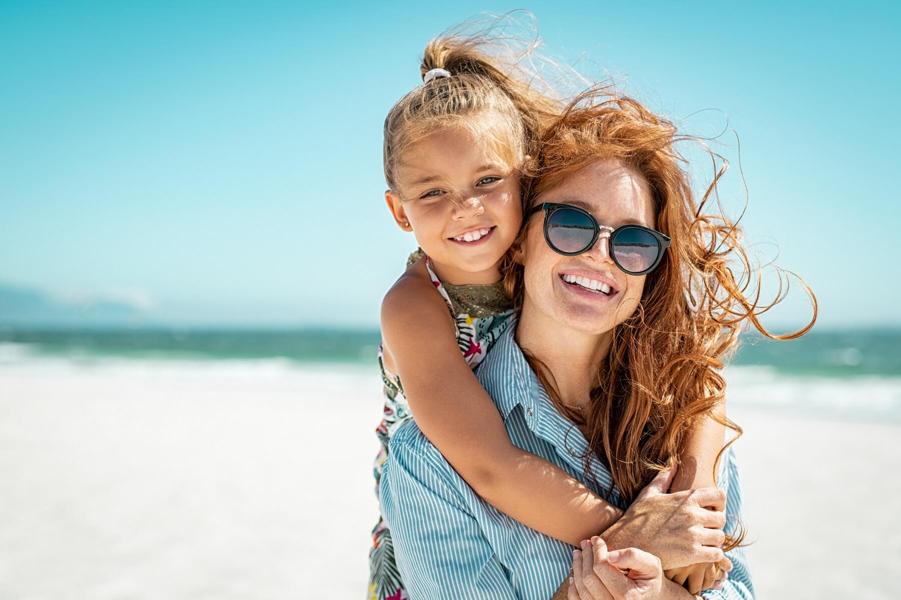 mother daughter on the beach