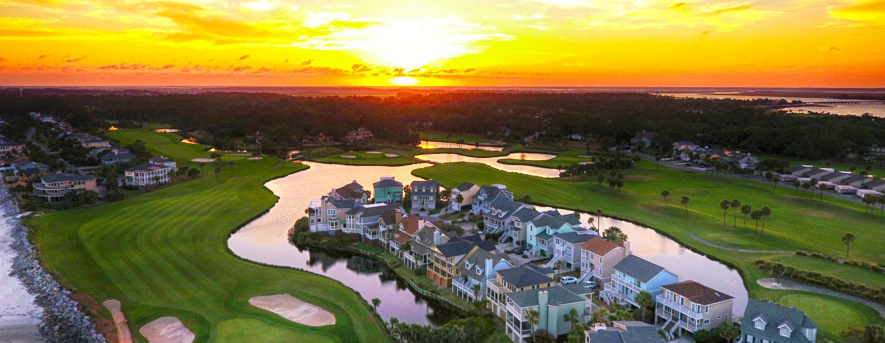 Aerial shot of Fripp Island at Sunset