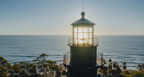 Sunrise view from the top of Hunting Island State Park lighthouse