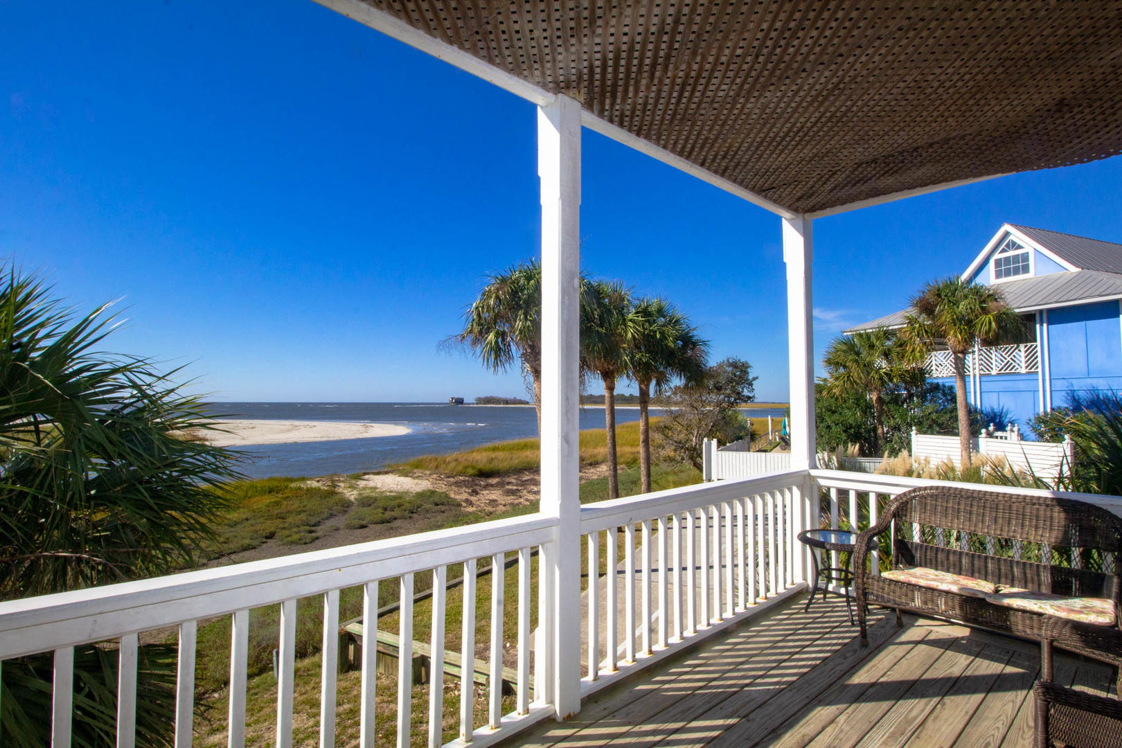 Porch overlooking the water at 12 Sea Mist vacation rental