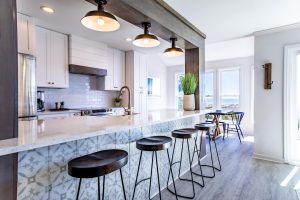 Fripp Island work from home space at a vacation rental kitchen bar
